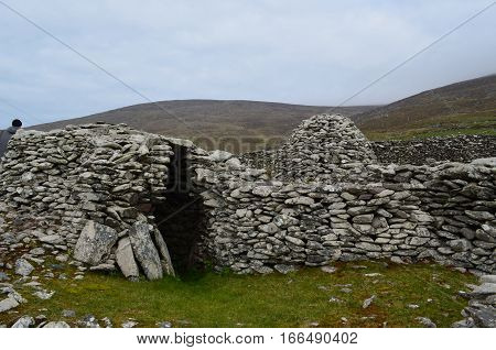 Collection of beehive huts found on the Slea head penninsula in Ireland.