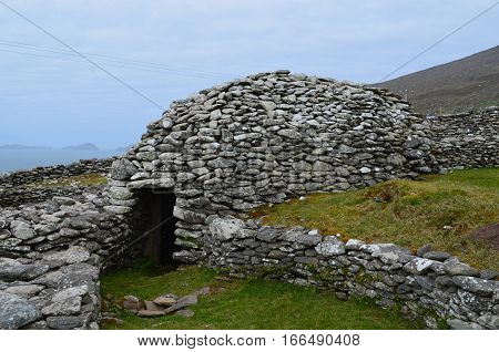 Fully intact Beehive huts on the slea head penninsula in County Kerry Ireland.