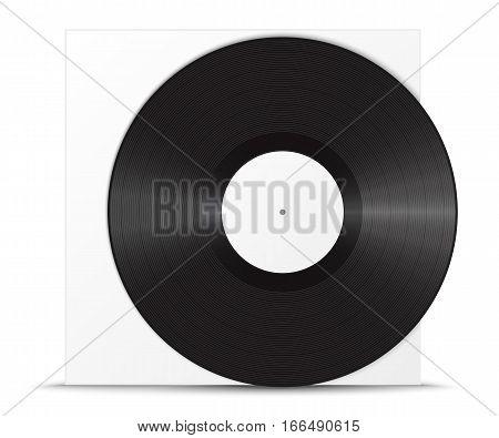 Realistic vinyl record and sleeve. Blank mock up isolated on white background. Vector illustration