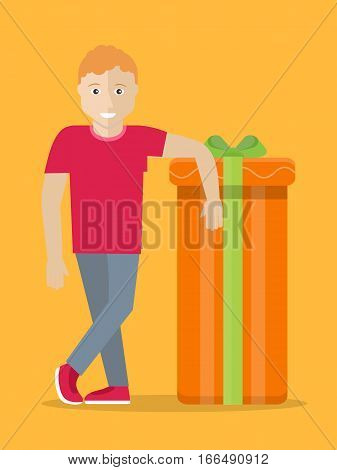 Man with gift box. Giving present concept. Smiling boy standing near box decorated with ribbon bow flat vector illustration isolated. Birthday, valentine, christmas, fathers or mothers day celebrating