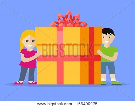 Giving present concept. Smiling little boy and girl standing with gift box decorated ribbon, bow flat vector illustration isolated. Birthday, valentine, christmas, fathers or mothers day celebrating