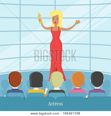 Actress superstar. Women in front of audience gets oscar award. Famous female young girl in luxury red dress. Flat vector icon. Unique talent show picture graphic art. Vector illustration