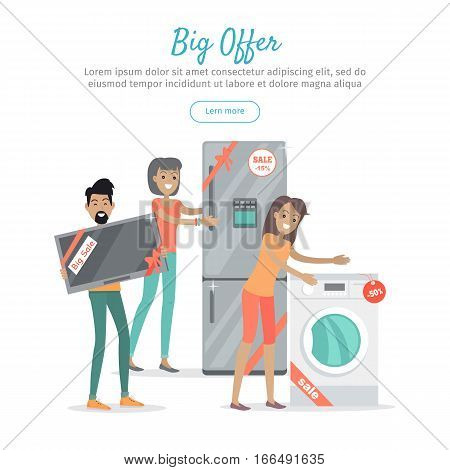 Big offer in electronics store web banner. Man with TV-set, woman with washing machine and refrigerator bought on sale on white background. Seasonal and holiday discounts. Black friday. For store ad