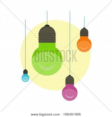 Idea concept background. Glowing light bulb as inspiration concept. Light sign ideas. Vector light bulb icon. Creative idea bulb shape. New idea on white with place for text. Flat style design