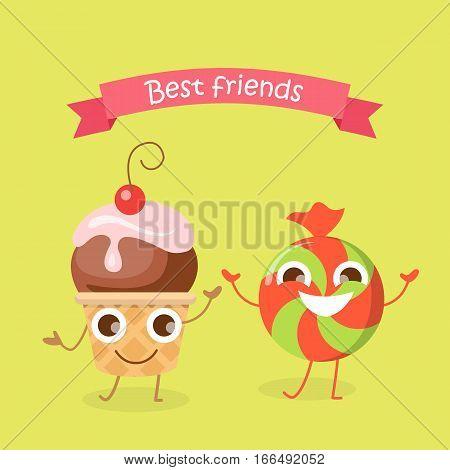 Best friends caramel candy and cupcake smiling characters. Funny sweet cartoon happy dancing sweets. Confectionery illustration in flat design. Bonbon, sweetmeat, sweet stuff. Children menu. Vector