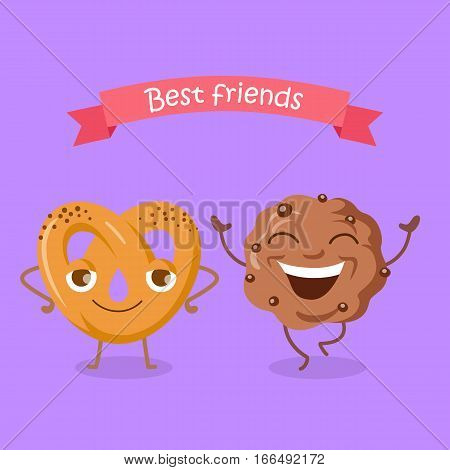 Best friends soft pretzel and chocolate biscuit. Happy cartoon dancing characters. Fresh tasty snack. Bakery sweet pastry cookies in flat style design. Bakery pretzel twist food. Vector illustration