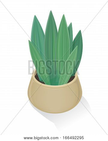 Flower in pot icon. Green flower in gray pot. Flower icon. Design element for home and office interior. Isolated object on white background. Green nature, leaf and pot, gardening. Vector illustration.