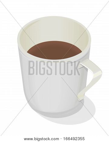 Cup of coffee isolated design flat. Coffee cup, mug. Cup of tea isolated, cup of cappuccino, cup of espresso. Hot strong coffee beverage. Icon symbol of energetic drink. Vector illustration