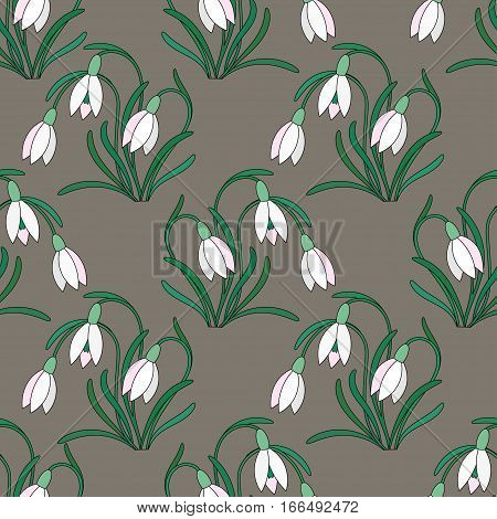 Seamless vector pattern with delicate white snowdrops