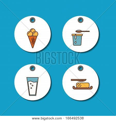 Price tags with dairy products icons in line style design on blue background, vector illustration. Natural and healthy food. Traditional farmers products. Organic shop round labels.