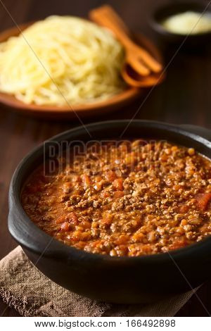 Homemade bolognese sauce made of fresh tomatoes onion carrot garlic and mincemeat served in rustic bowl with cooked spaghetti and grated cheese in the back photographed on dark wood with natural light (Selective Focus Focus in the middle of the sauce)