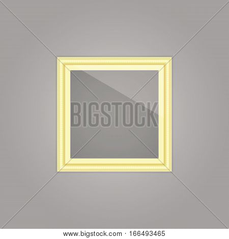 Created gold picture frame with mirror reflection stock vector