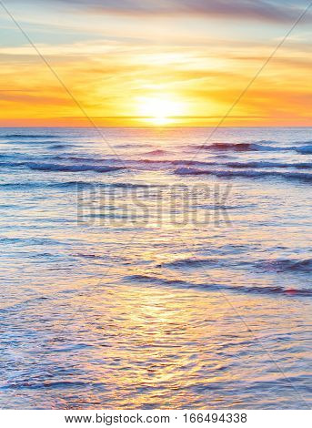 Beautiful sunset in the ocean. Atlantic ocean. Portugal
