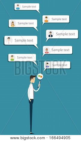 Business man talk to business on mobile message concept and social network connection for working concept