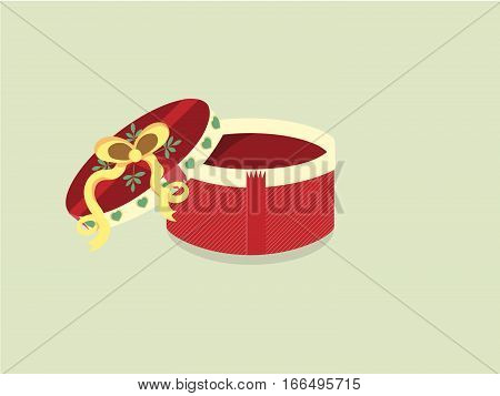 Red round gift box with green hearts and yellow bow . Vector illustration on light green background