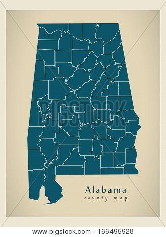 Modern Map - Alabama County Map Usa Illustration