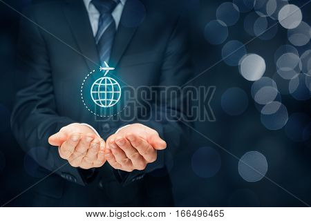 Travel insurance and business travel concepts. Insurance agent or businessman with protective gesture and icon of plane and globe.