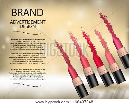 Glamorous colorful lipstick set on the sparkling effects background. Mockup 3D Realistic Vector illustration for design template