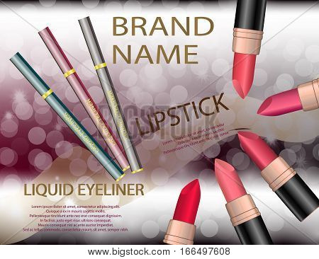 Glamorous colorful lipstick set and liquid eyeliner on the sparkling effects background. Mockup 3D Realistic Vector illustration for design template