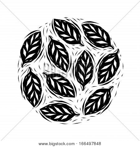 Black and white linocut leaves circle, vector background