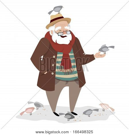 Grandpa walks in the Park. An elderly man feeding pigeons