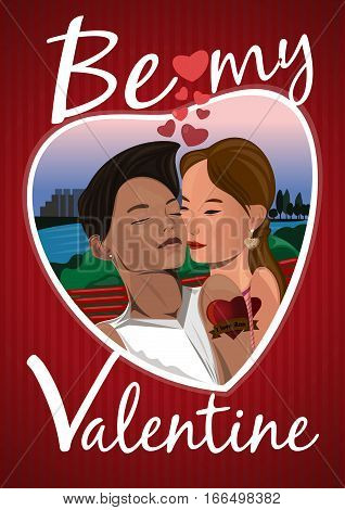 Be my Valentine. Lovers boy and girl kissing on a bench in the park. Vector greeting card for Valentine's Day