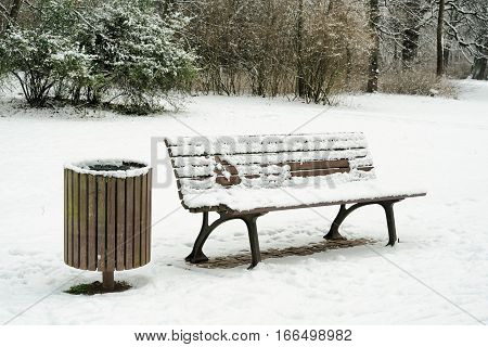 Bench in a Park in Magdeburg in Winter