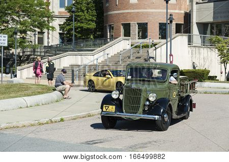 Fairhaven Massachusetts USA - July 4, 2016: Antique pickup truck lined up in front of Fairhaven High School for annual Fairhaven Fourth of July Car Cruise