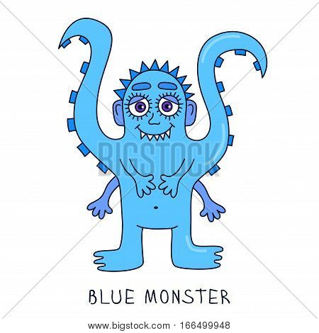 Blue cute funny octopus mutant cartoon doodle monster character vector