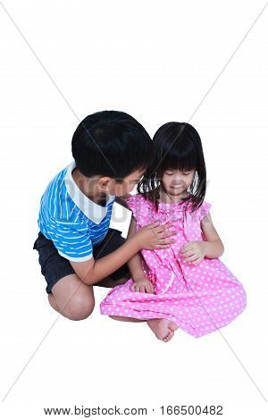 Elder Brother Hugging And Soothing A Crying His Sister. Isolated On White Background. Conceptual Abo