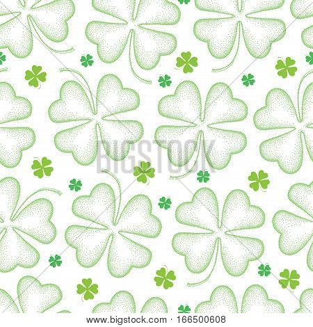 Vector seamless pattern with dotted lucky four leaf clover or shamrock in green on the white background. Holiday background with traditional symbol for St. Patrick day in dotwork style.