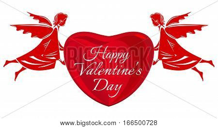 Valentine's Day design. Pair of cherubs holding a heart with an inscription - Happy Valentine's Day. Vector elements for Valentine's Day. Big red heart and angel isolated on white background