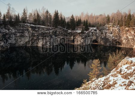 Marble Canyon in winter. Lake in Marble Canyon