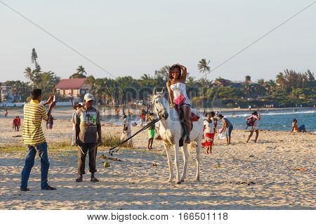 Malagasy Beauty, Beautiful Girls Ride Horse On The Beach