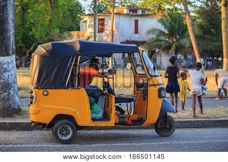 Traditional Rickshaw With Malagasy Peoples In Toamasina, Madagascar