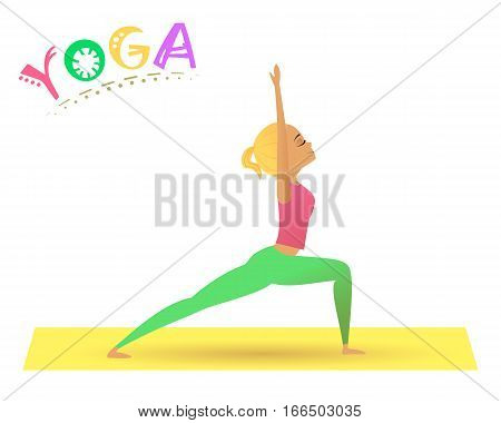 Vector illustration of cute girl practicing yoga. Yoga girl doing warrior pose.