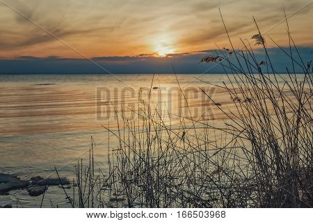 sunset on the lake. silence, tranquil scene on nature