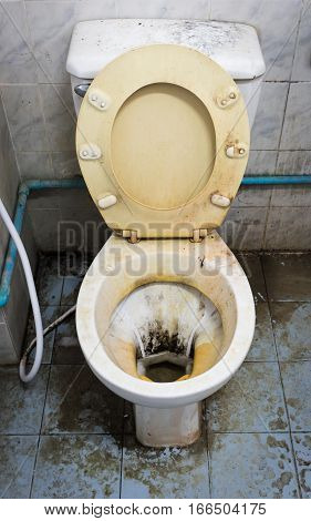 close up dirty flush toilet in house.