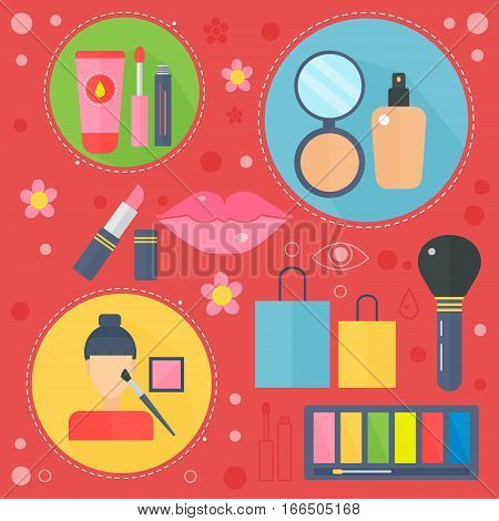 Modern flat design beauty and shopping concept icons. Icons for beauty, shopping, fashion body health care concept