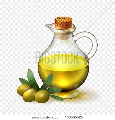 Olive oil in a glass bottle with handle and cork and olives with green leaves, realistic vector illustration on transparent background