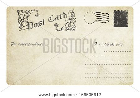Vintage post card with postmarkdecorative element and copy space for the text.