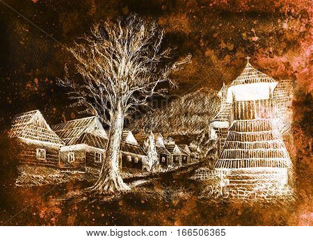vintage mountain oldtime willage with wooden houses and belfry, pencil drawing on papier, sepia invert effect