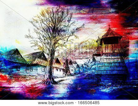 vintage mountain oldtime willage with wooden houses and belfry, pencil drawing on papier, color effect