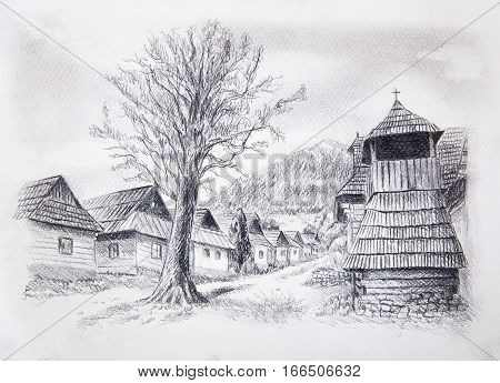 vintage mountain oldtime willage with wooden houses and belfry, pencil drawing on papier