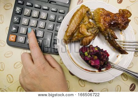 Manicured finger working on calculator laid on a table next to a fried chicken. Overhead filtered shot