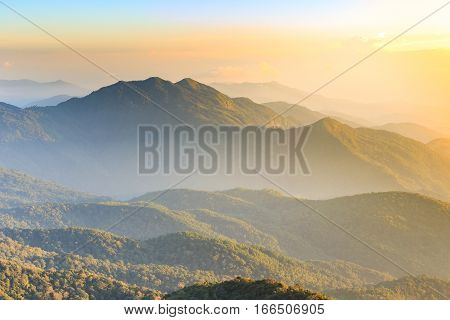 Scenery And Bright Sky With Cloud Over High Mountain In Thailand