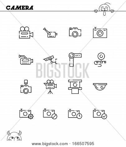 Camera flat icon set. Collection of high quality outline symbols for web design, mobile app. Camera vector thin line icons or logo.