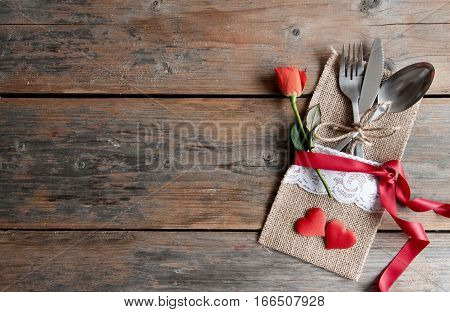 Valentines day romantic meal background with space