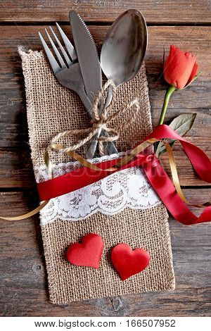 Valentines day cutlery set inside pouch with silk ribbon and a gift box