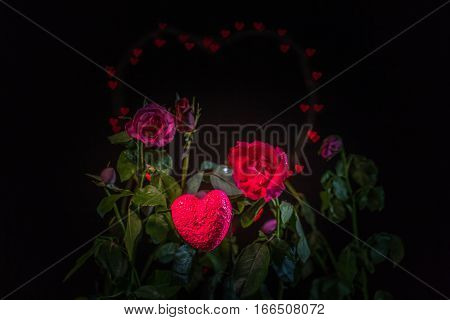 Rose Flowers In The Heart Background.